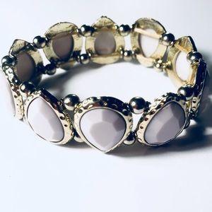 Akira lilac purple & gold gem stretch bracelet